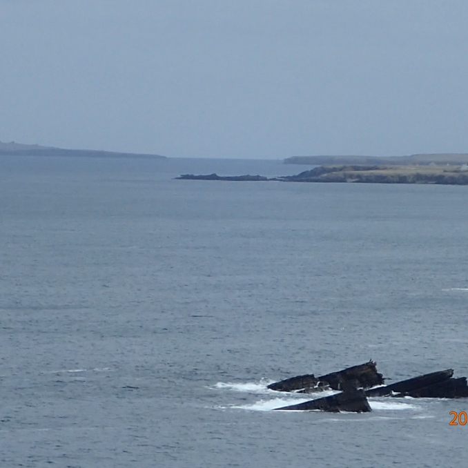 John O'Groats on the right and Orkneys on the left..